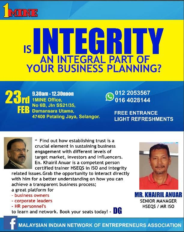 1MINE: 83rd Business Networking Session last week 🤝 #integrity by En. Khairil Anuar.