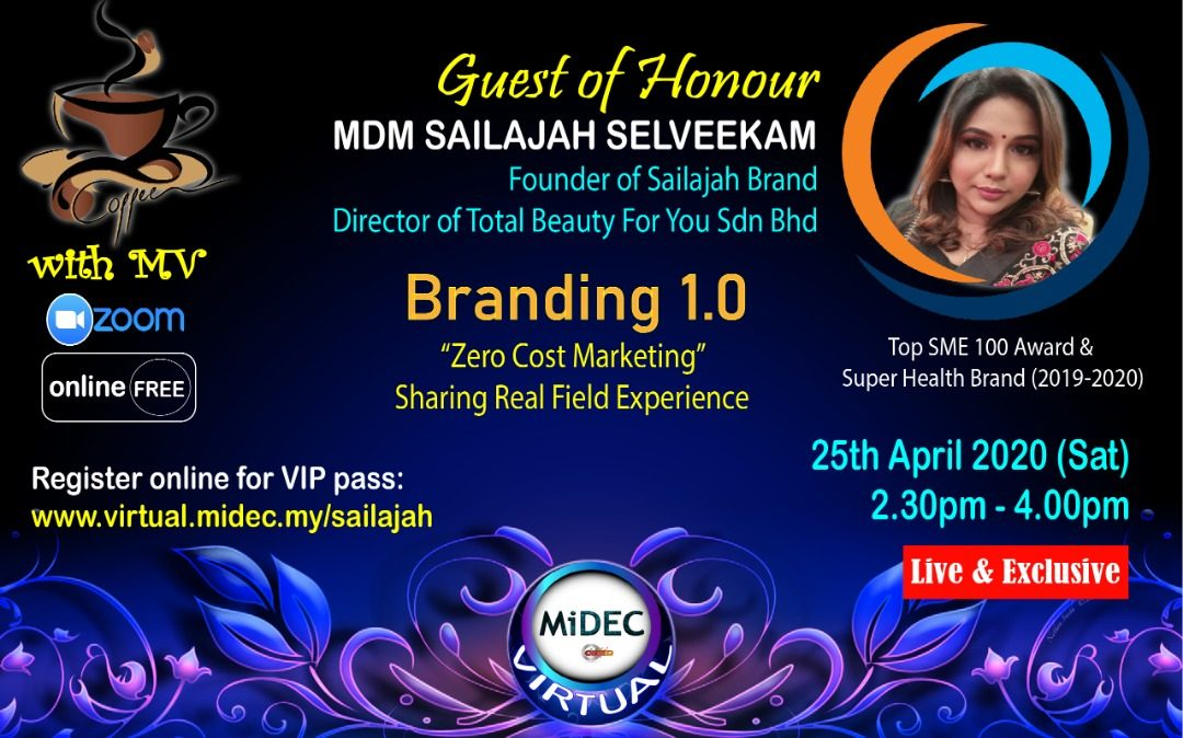 Coffee with Mdm Sailajah Selveekam: 25th April 2020  (Sat) – DONE