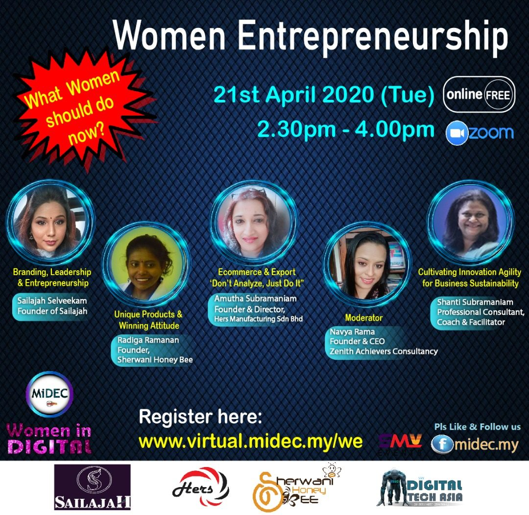 Women Entrepreneurship – Live Webinar : 21st April 2020 – DONE
