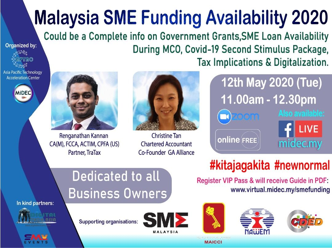 SME Funding Availability 2020  – MiDEC Virtual Classroom : 12th May 2020 – DONE – Watch Video