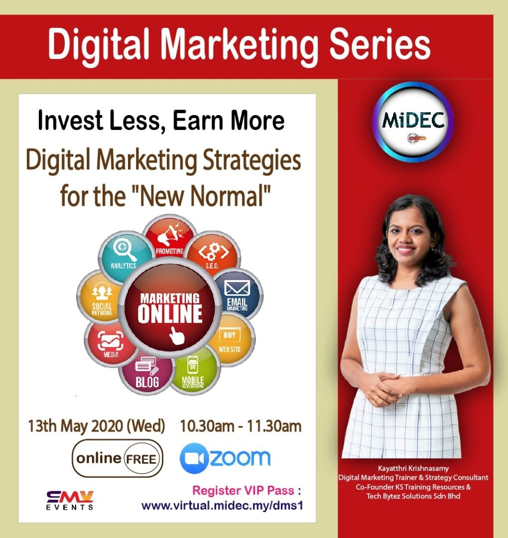 """Digital Marketing Strategies for the """"New Normal""""  – MiDEC Virtual Classroom : 13th May 2020 – DONE – Watch Video"""