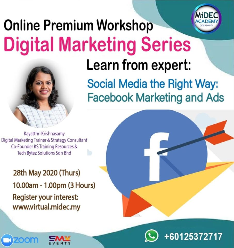 Social Media The Right Way: Facebook Marketing and Ads : MiDEC Virtual Classroom – 28th May 2020 – Register Here