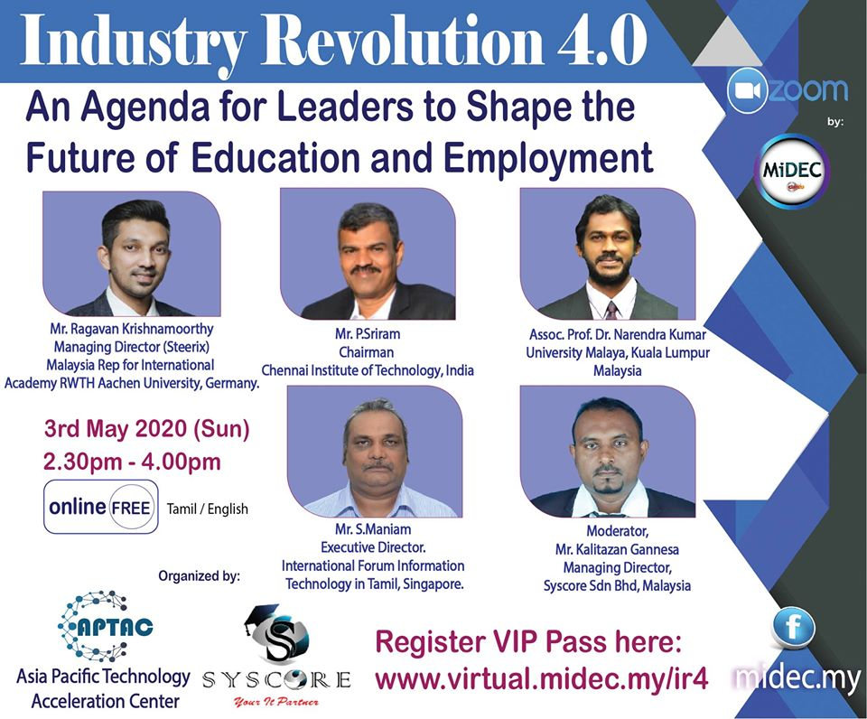 Industry Revolution 4.0 Impact – MiDEC Virtual Classroom : 3rd May 2020 – DONE